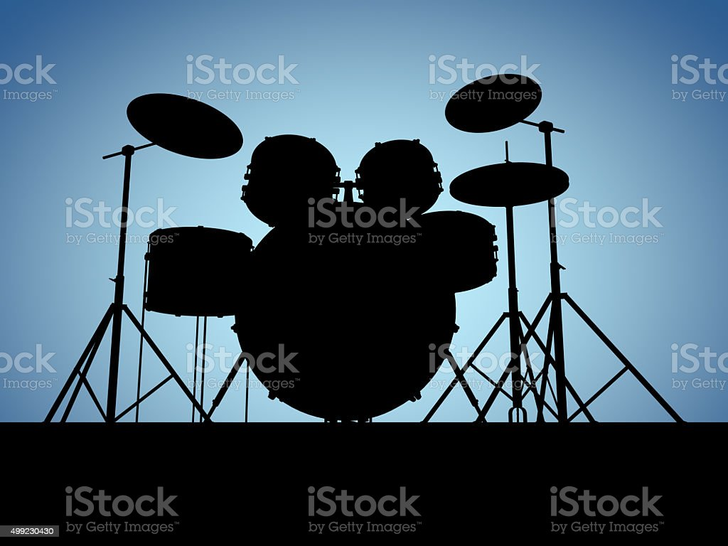 Silouette drum set stock photo