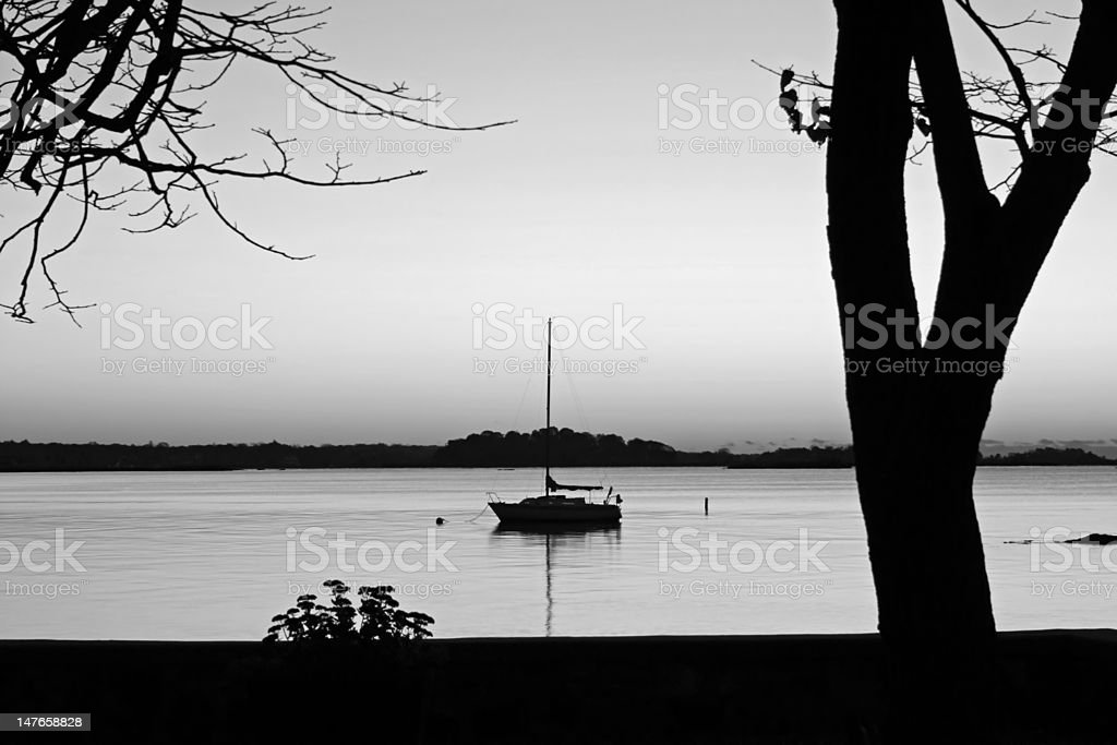 Silouetted Sailboat royalty-free stock photo