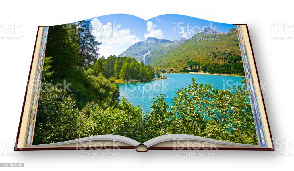 Sils lake in the Upper Engadine Valley in a summer day (Europe - Switzerland) - 3D render concept image of an opened photo book isolated on white - I'm the copyright owner of the images used in this 3D render stock photo