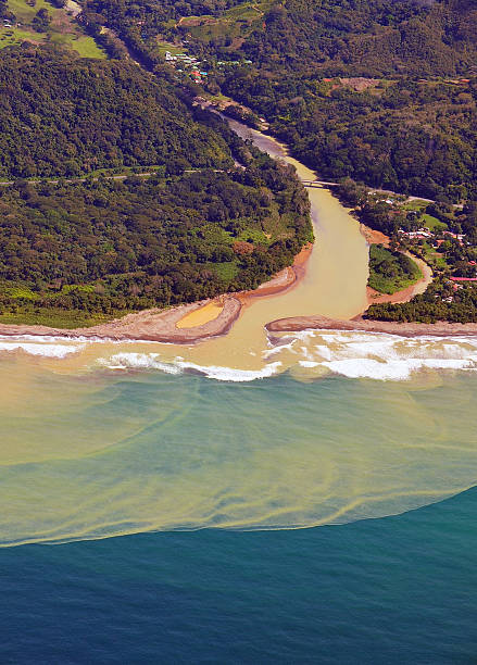 Silt washed from river mouth, Costa Rica stock photo
