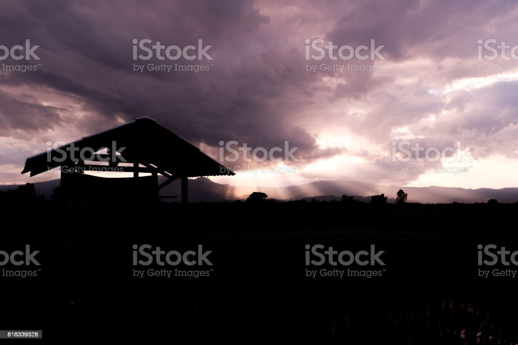 Siluate, Central hut at rice field. stock photo