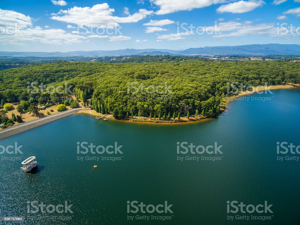 Silvan Reservoir lake and forest in Melbourne, Victoria, Australia stock photo