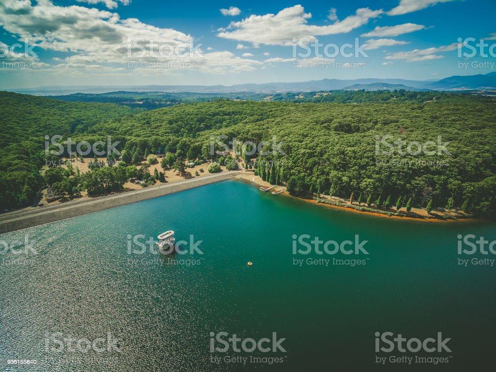 Silvan Reservoir lake and surrounding native Australian forest. Melbourne, Australia stock photo