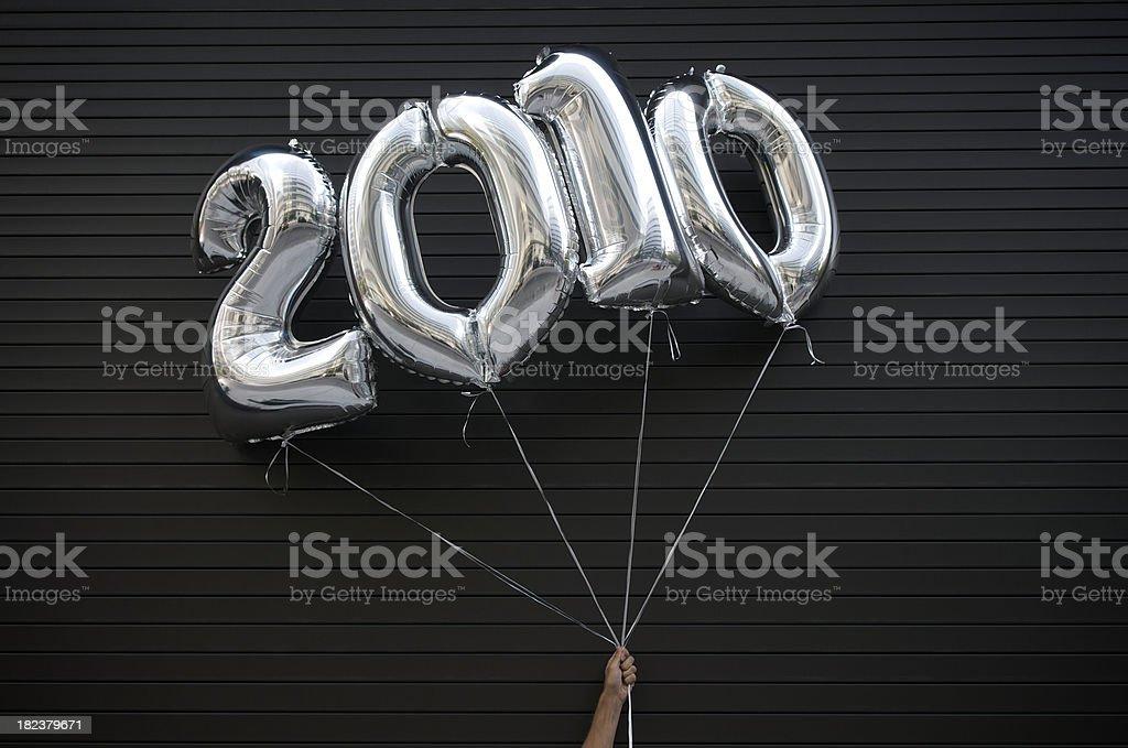Silver 2010 Balloons Black Background stock photo