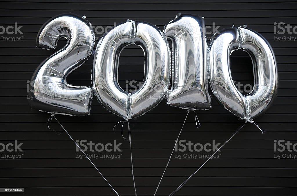 Silver 2010 Balloons on Black stock photo
