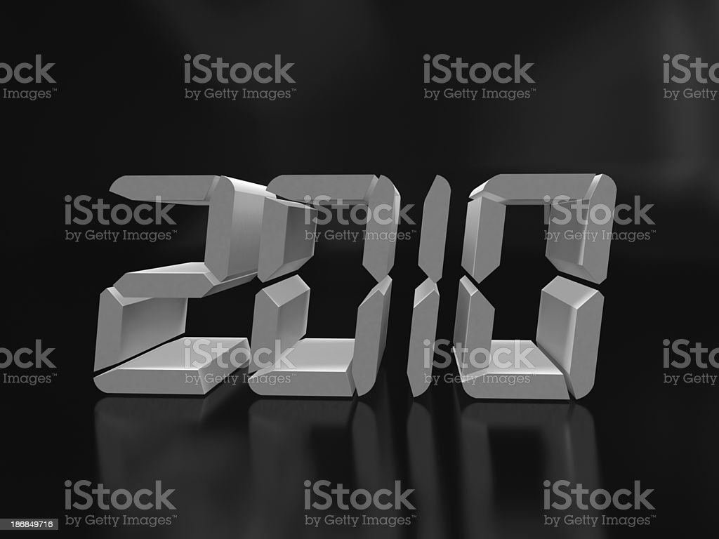 3D Silver 2010 in Digital Clock royalty-free stock photo