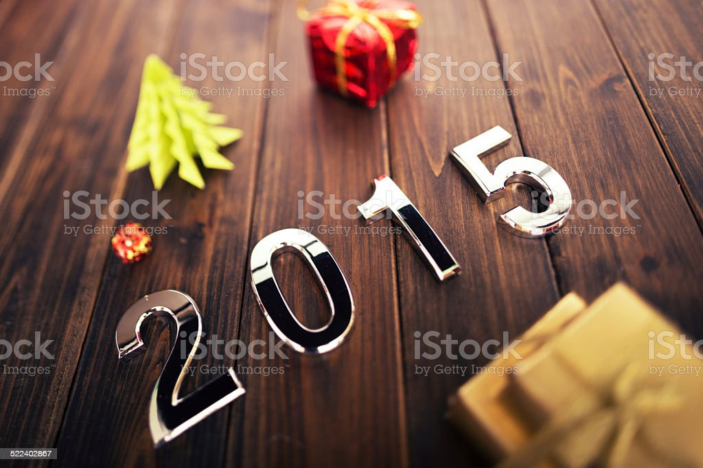 silver 2015 New year text on new year\'s decoration