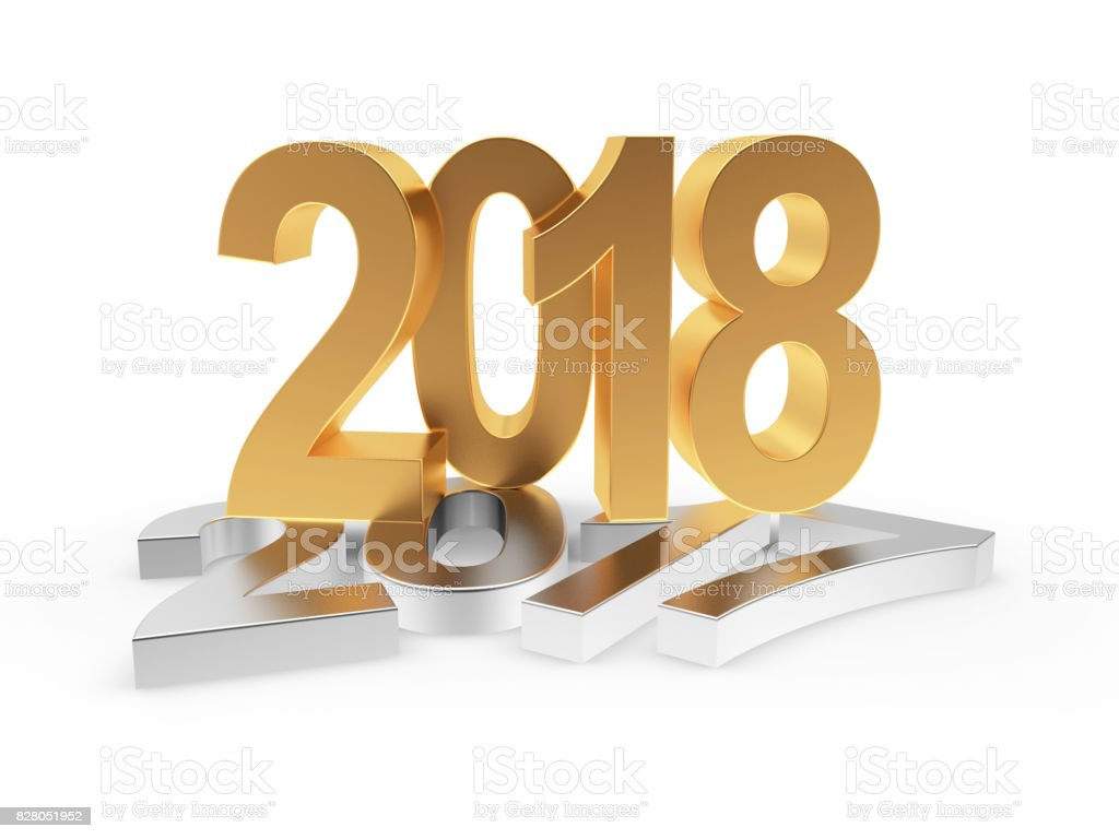 Silver 2017 changed to golden 2018 stock photo