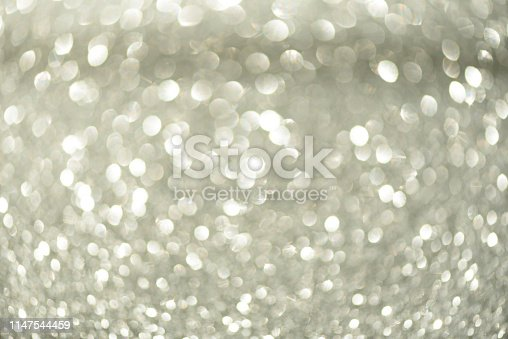 881350776 istock photo Silver abstract bokeh lights. Defocused background with copy space. New year and Christmas concept. Greeting card 1147544459