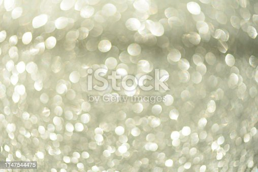 881350776 istock photo Silver abstract bokeh lights. Defocused background with copy space. New year and Christmas concept. Greeting card 1147544475
