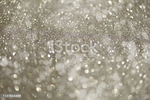 881350776 istock photo Silver abstract bokeh lights. Defocused background with copy space. New year and Christmas concept. Greeting card 1147544483