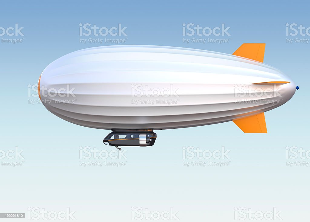 Silver airship floating in the sky stock photo