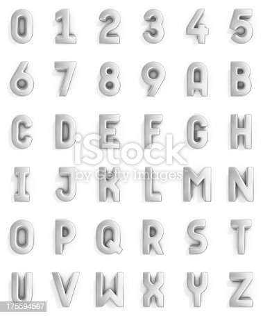 isolated silver 3d alphabet and numbers.