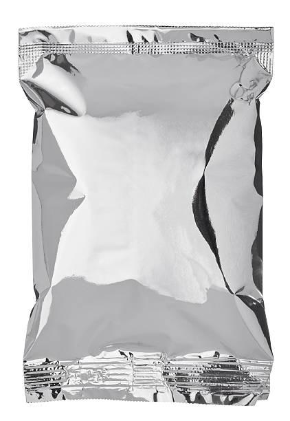 """silber aluminium-tasche """" food-vorlage - aluminiumkiste stock-fotos und bilder"""