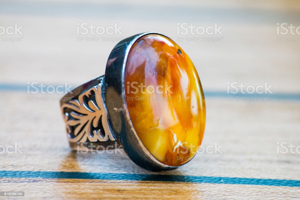 bague argent ambre