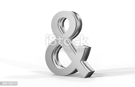 istock Silver Ampersand On White Background 988169918
