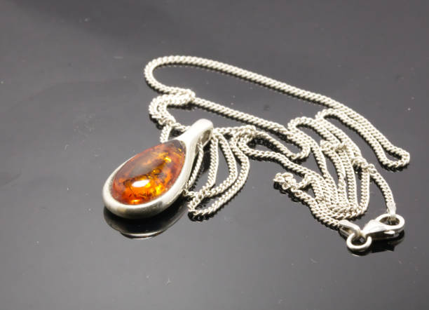Silver and Amber Jewellery stock photo