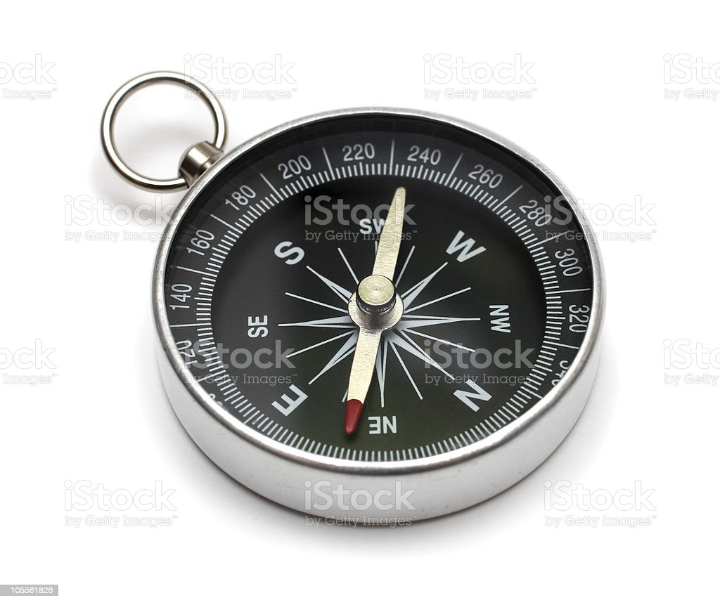 Silver and black compass showing NE royalty-free stock photo