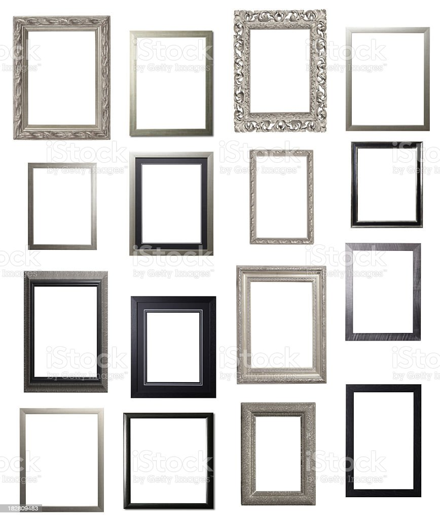Silver and Black Portrait Frame Multiple Selection stock photo