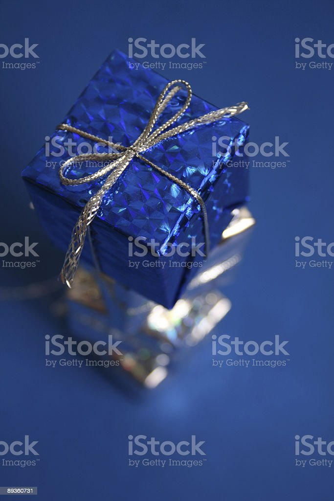 Silver and blue Presents royalty free stockfoto