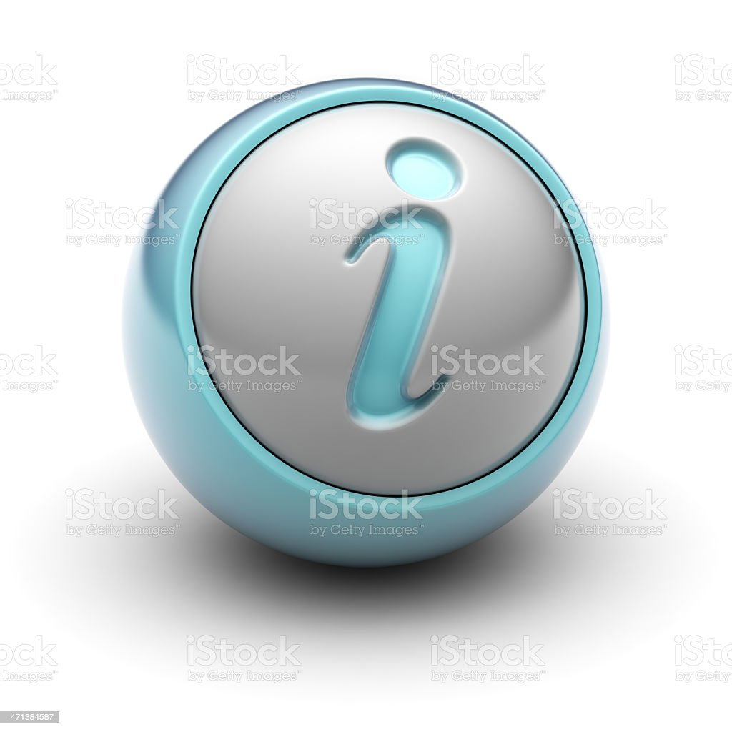 3D silver and blue sphere with an i representing internet stock photo