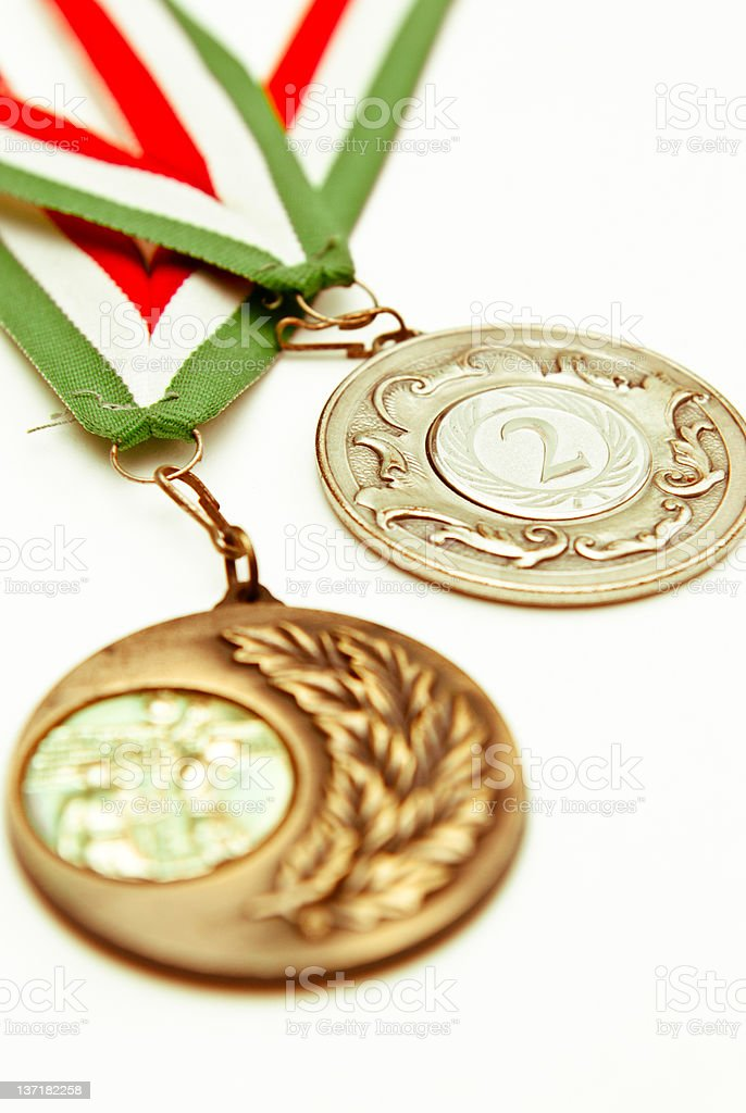 Silver and bronze medals of volley festival match stock photo