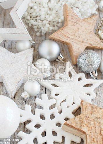 istock Silver and cream Christmas christmas decorations 607920698