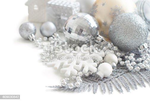 istock Silver and cream Christmas christmas decorations 609030542