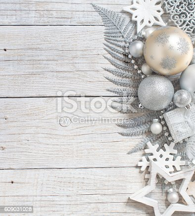 istock Silver and cream Christmas christmas decorations 609031028