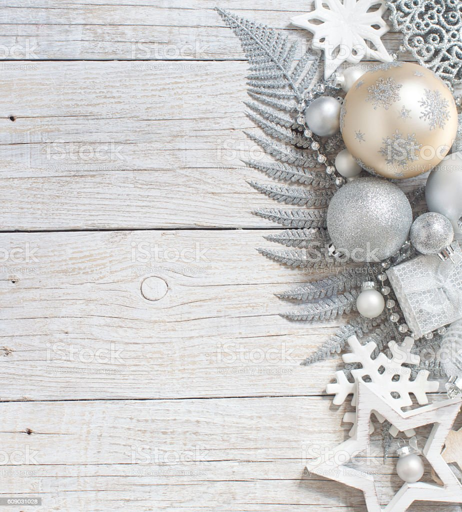 Silver and cream Christmas christmas decorations stock photo