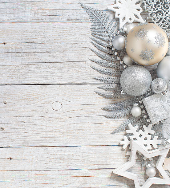 silver and cream christmas christmas decorations - garland decoration stock photos and pictures