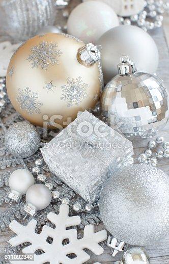 istock Silver and cream Christmas christmas decorations 611092340