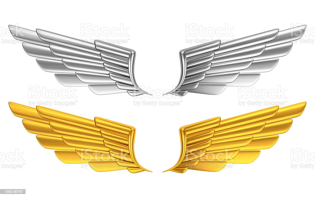 Silver and gold wings against white background stock photo