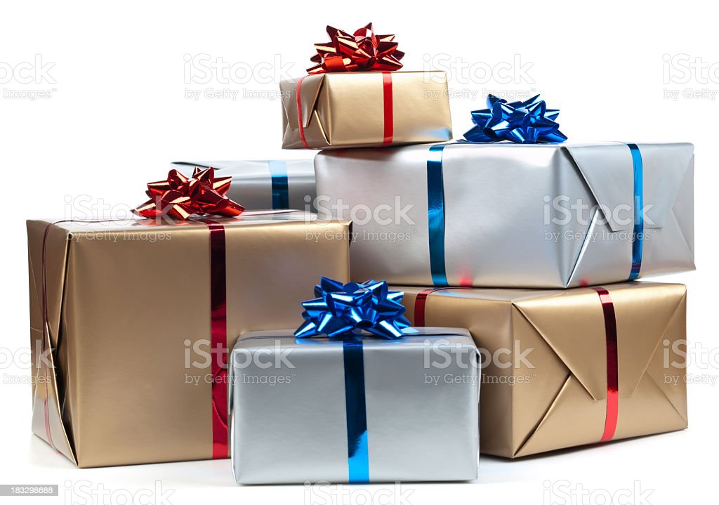 Silver And Gold Wrapped Presents With Blue And Red Ribbon