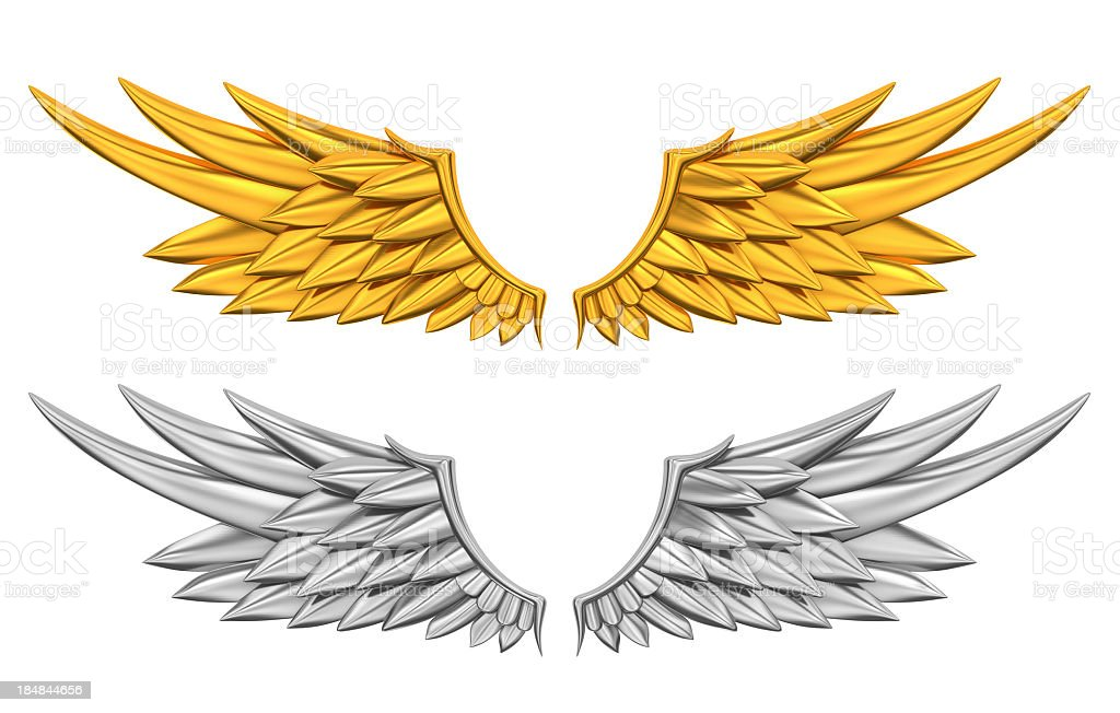 A silver and golden wings on white stock photo