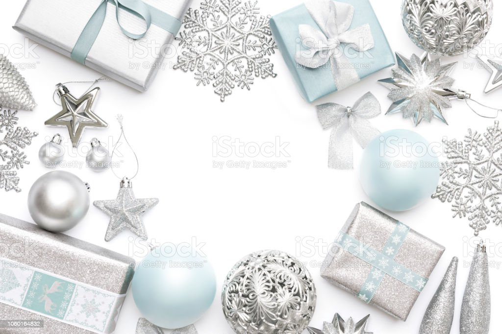Pastel Christmas Ornaments.Silver And Pastel Blue Christmas Gifts Ornaments And