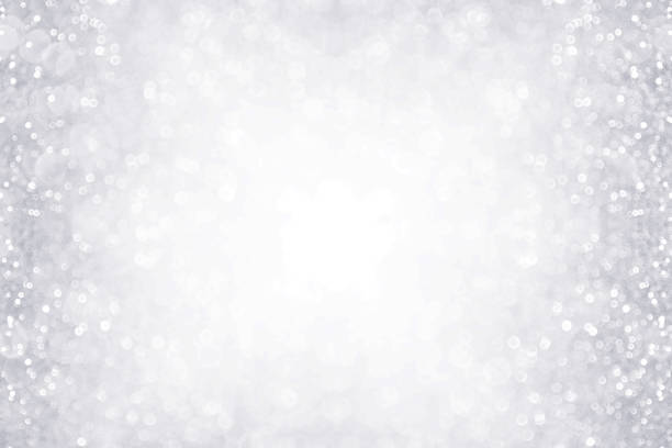 silver and white border background for anniversary, birthday or christmas - scintillante foto e immagini stock