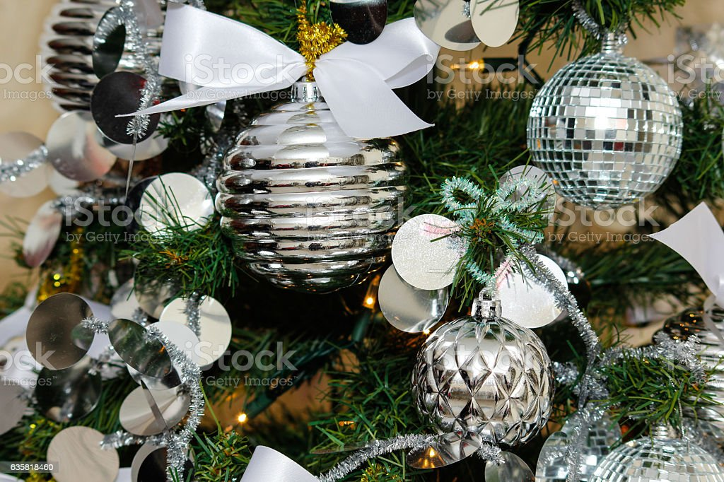 silver and white christmas tree decorations royalty free stock photo - Silver And White Christmas Tree Decorations