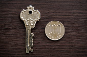 Silver antique keys and Japanese 100 yen coin.