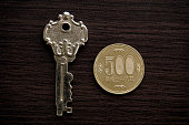 Silver antique keys and Japanese 500 yen coin.