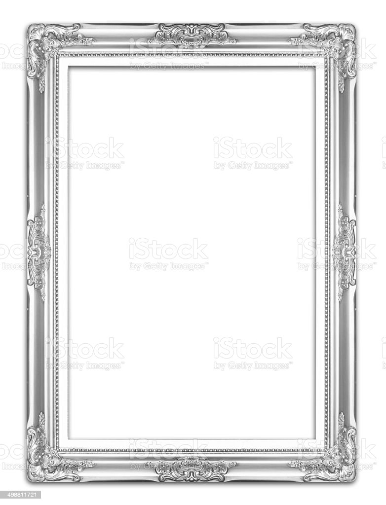 Silver antique picture frames. Isolated on white background stock photo