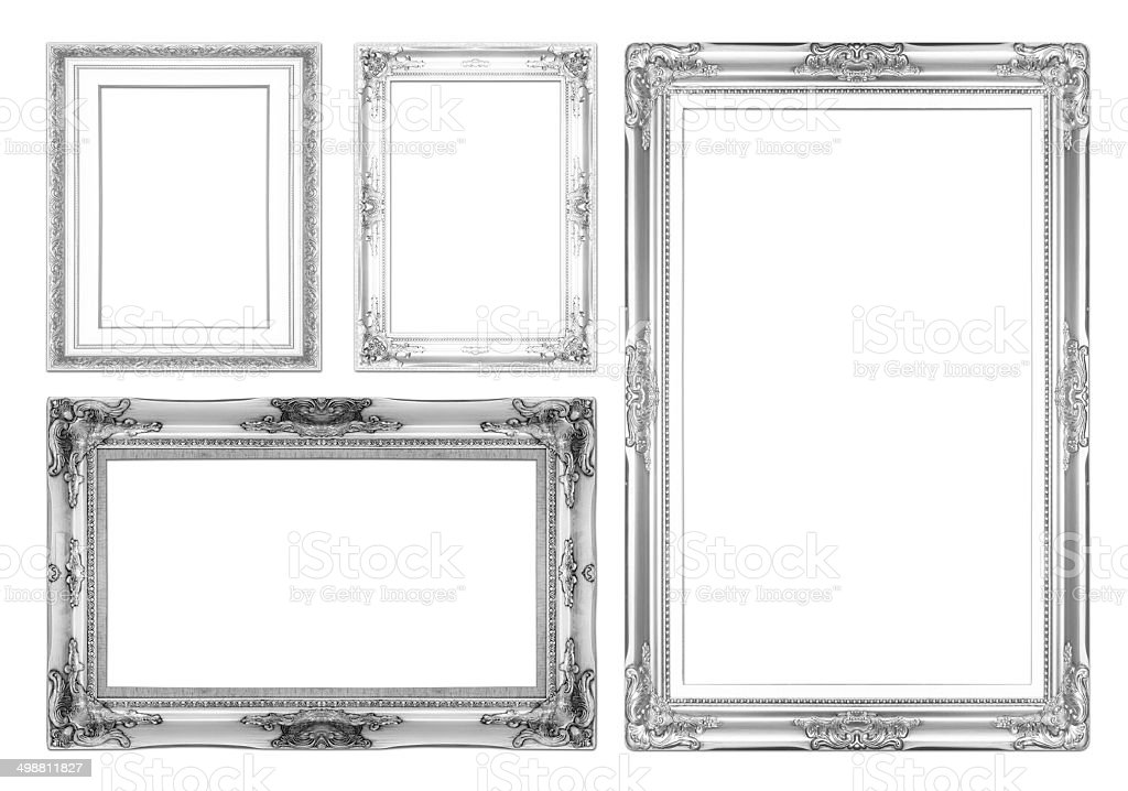 silver antique picture frames. Silver Antique Picture Frames. Isolated On White Background Royalty-free Stock Photo Frames