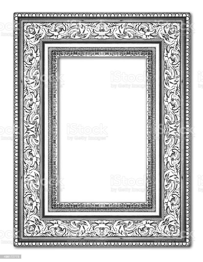 Silver Antique Vintage Picture Frames Isolated On White Backgr Stock ...
