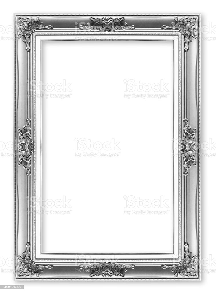silver antique vintage  picture frames. Isolated on white backgr stock photo