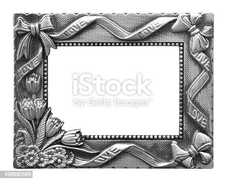 Silver Antique Vintage Picture Frames Isolated On White Backgr Stock