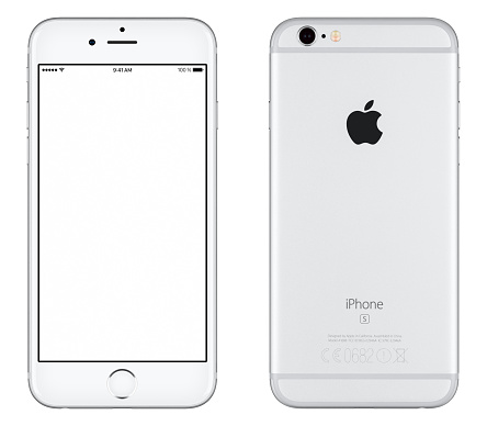 istock Silver Apple iPhone 6s mockup front view and back side 505472272