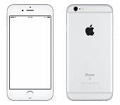 シルバー Apple iPhone 6 S mockup フロントとバックのサイドを表示