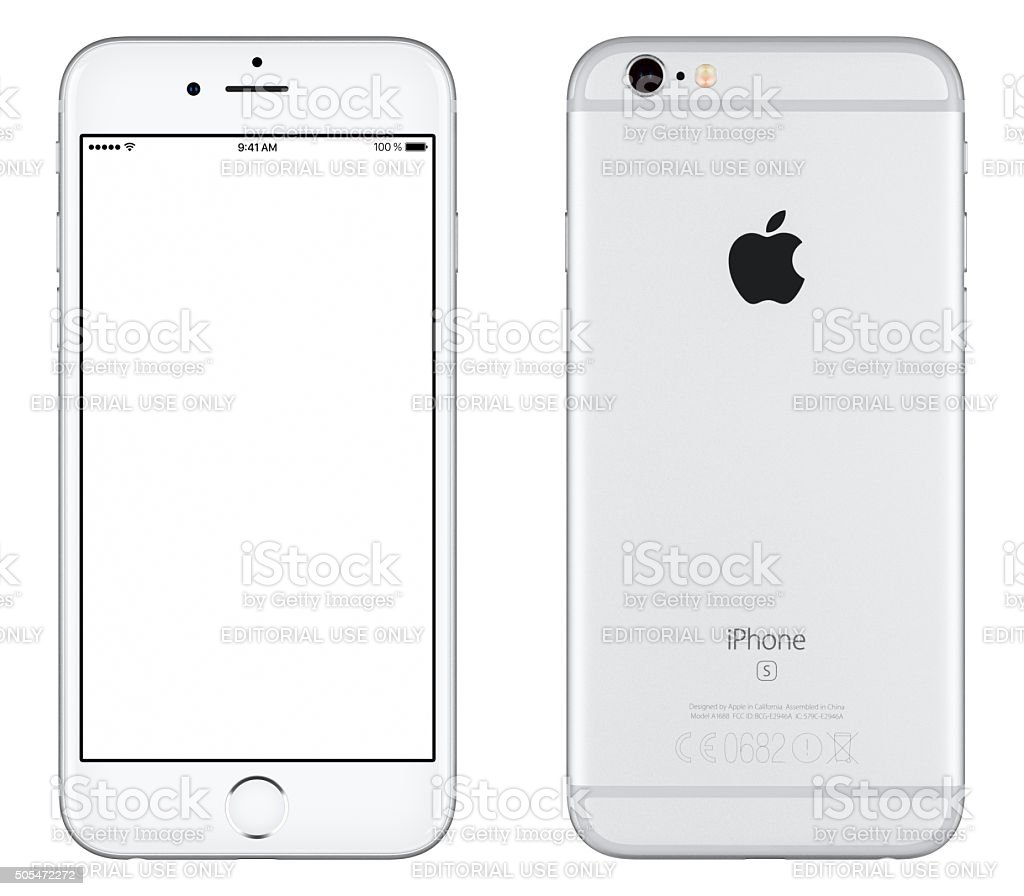 Silver Apple iPhone 6s mockup front view and back side stock photo