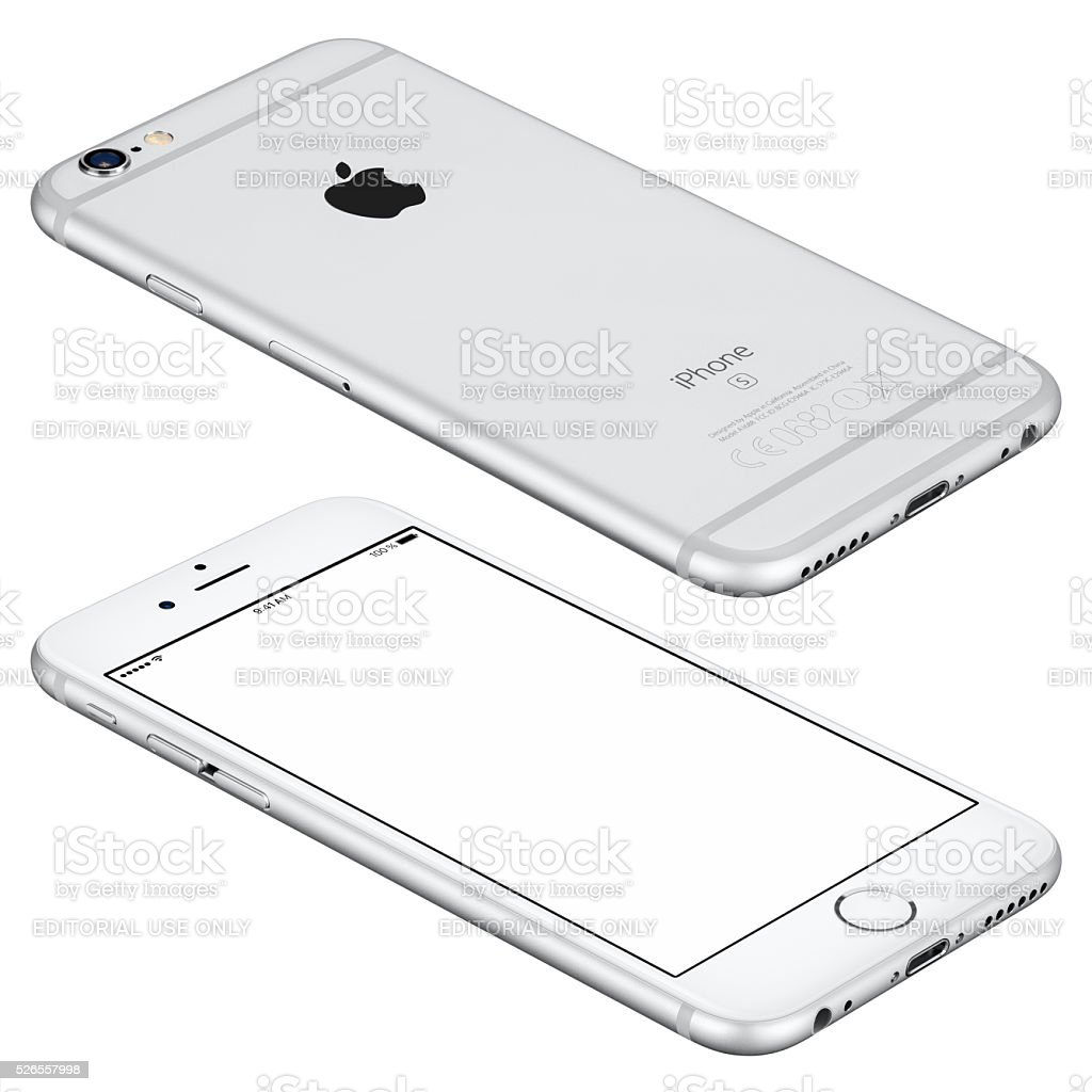 Silver Apple iPhone 6s mockup lies on the surface stock photo