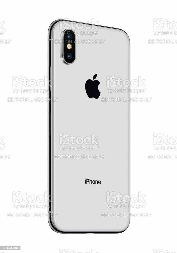 Silver Apple Iphone X Back Side Slightly Rotated Isolated On